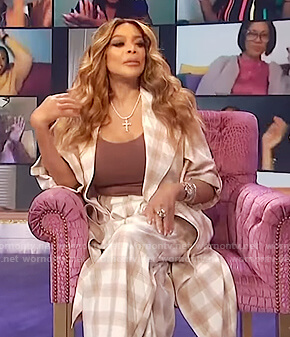 Wendy's plaid coat and pants on The Wendy Williams Show