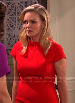 Belle's red cap-sleeve dress on Days of our Lives