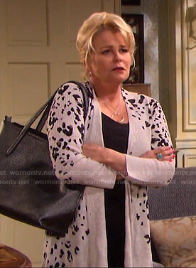 Bonnie's grey animal print long cardigan on Days of our Lives