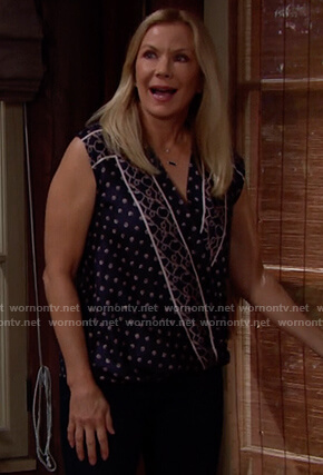 Brooke's blue printed sleeveless top on The Bold and the Beautiful