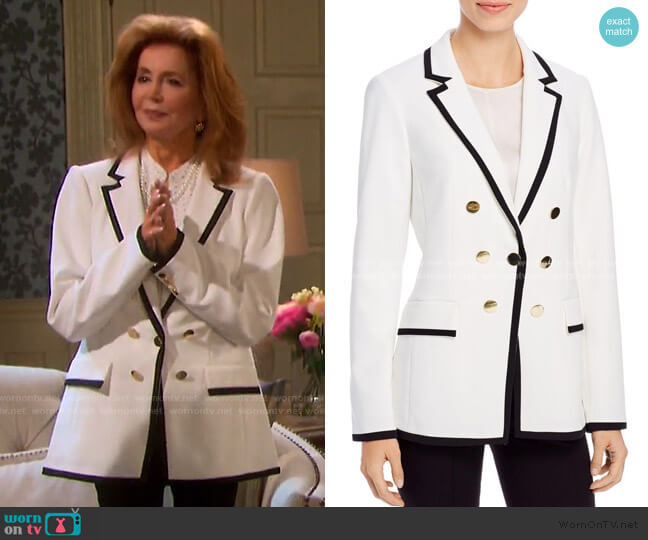 Satin-Trimmed Faux Double-Breasted Blazer by Calvin Klein worn by Maggie Horton (Suzanne Rogers) on Days of our Lives
