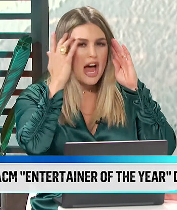 Carissa's green satin wrap top on E! News Daily Pop