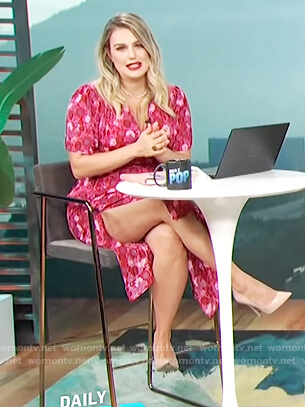 Carissa's pink floral v-neck dress on E! News