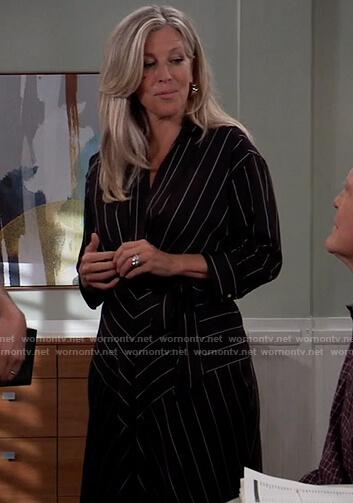 Carly's black stripe wrap dress on General Hospital