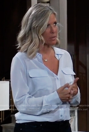 Carly's blue button down shirt on General Hospital