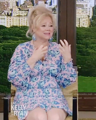 Caroline Rhea's pink smocked dress on Live with Kelly and Ryan