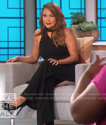 Carrie's black halter neck jumpsuit on The Talk