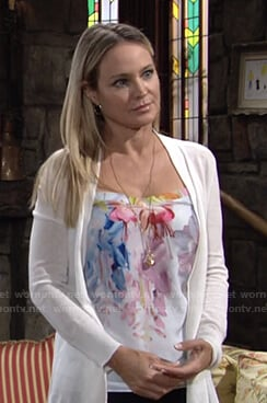 Sharon's white floral camisole and cardigan on The Young and the Restless