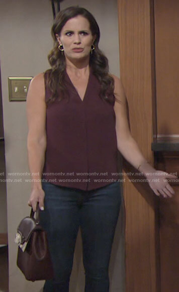 Chelsea's burgundy v-neck top on The Young and the Restless