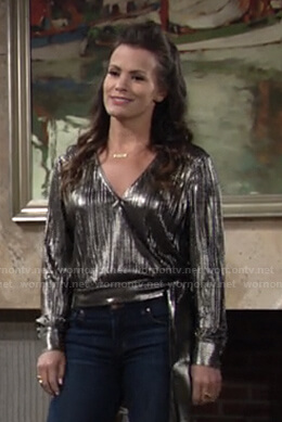 Chelsea's metallic wrap top on The Young and the Restless