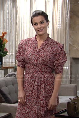 Chelsea's red floral midi dress on The Young and the Restless