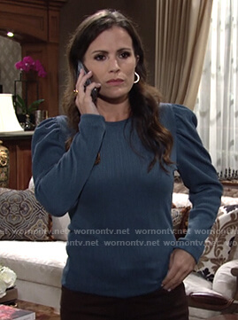 Chelsea's teal ribbed puff sleeve top on The Young and the Restless