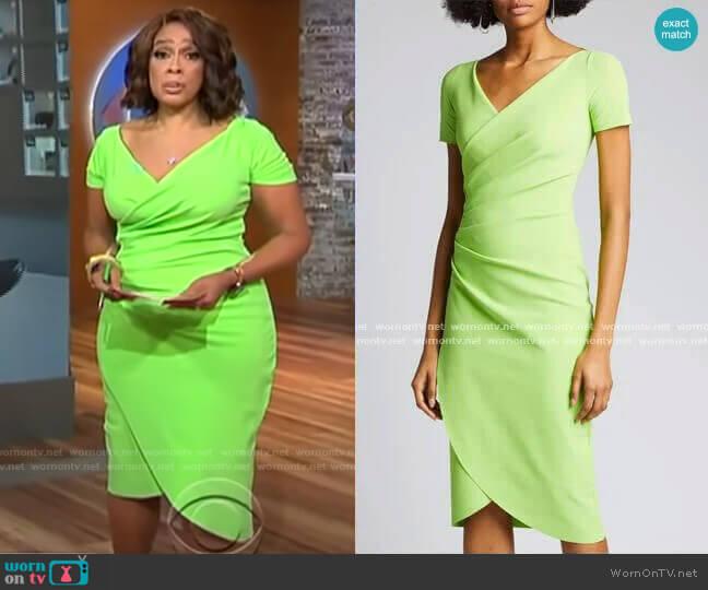 V-Neck Short-Sleeve Wrap-Front Dress by Chiara Boni La Petite Robe worn by Gayle King  on CBS This Morning