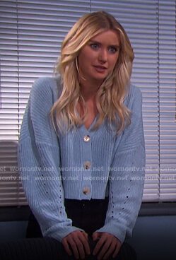Claire's blue cropped cardigan on Days of our Lives