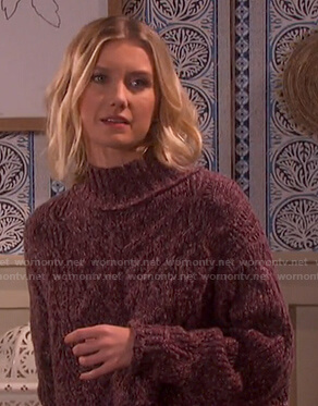 Claire's purple cable knit turtleneck sweater on Days of our Lives