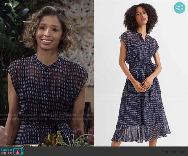 Dremah Silk Dress by Club Monaco worn by Elena Dawson (Brytni Sarpy) on The Young & the Restless