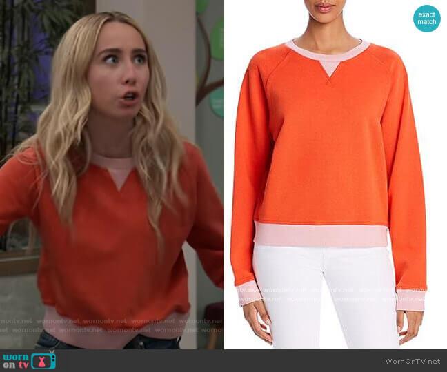 Aiya Colorblocked Sweatshirt by Comune worn by Josslyn Jacks (Eden McCoy) on General Hospital