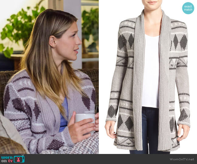 Cupcakes and Cashmere Eden Jacquard Knit Cardigan worn by Kara Danvers (Melissa Benoist) on Supergirl