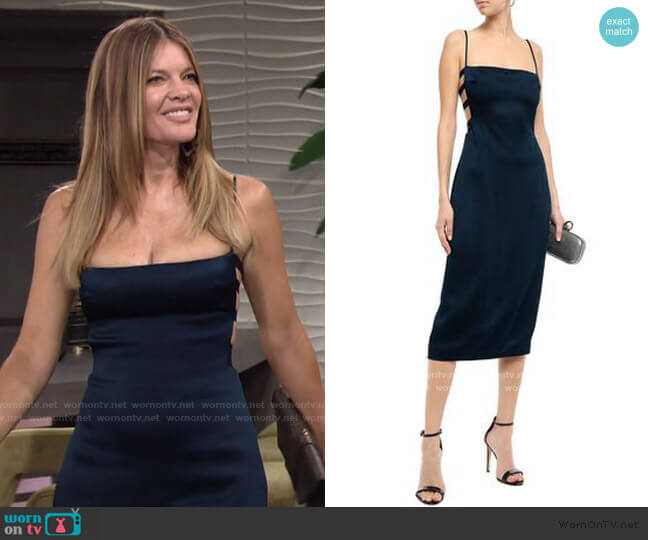 Cutout Hammered Satin Midi Dress by Cushnie worn by Phyllis Summers (Michelle Stafford) on The Young & the Restless