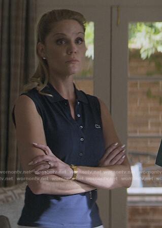 Debbie's sleeveless blue polo on Teenage Bounty Hunters