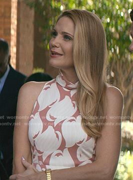Debbie's white and pink printed mock neck dress on Teenage Bounty Hunters