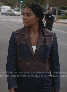 Sydney's colorblock denim jacket on LA's Finest