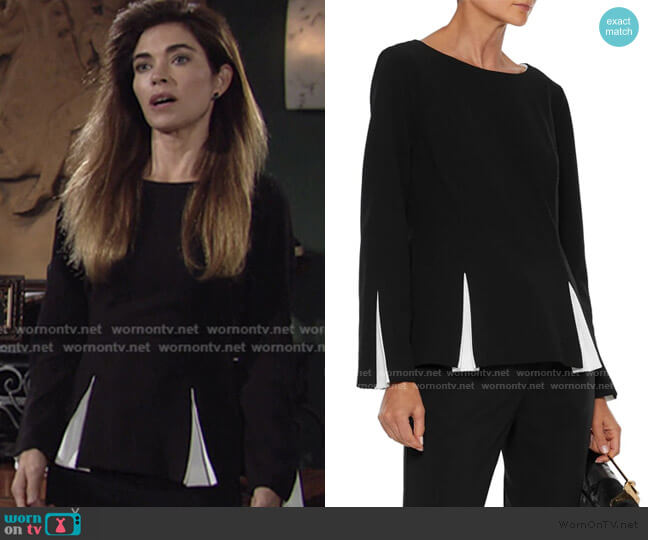 Pleated Two-Tone Stretch-Crepe Top by Donna Karan worn by Victoria Newman (Amelia Heinle) on The Young & the Restless