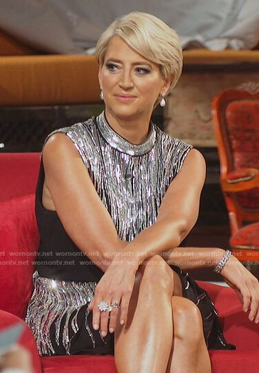 Dorinda's black embellished mini dress on The Real Housewives of New York City