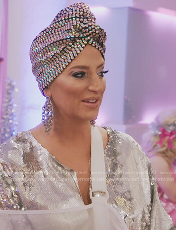 Dorinda's sequin embellished turban on The Real Housewives of New York City