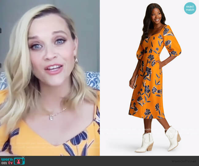 Marigold Floral June Dress by Draper James worn by Reese Witherspoon on The Drew Barrymore Show
