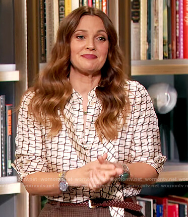 Drew's printed tie neck blouse and skirt on The Drew Barrymore Show