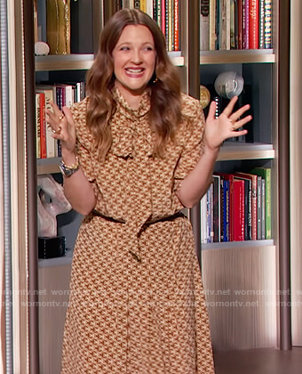 Drew's printed tie neck dress on The Drew Barrymore Show