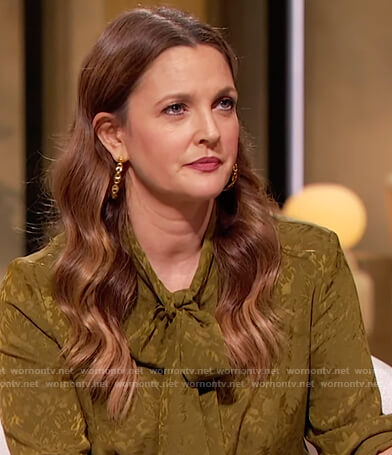 Drew's green silk tie neck blouse on The Drew Barrymore Show