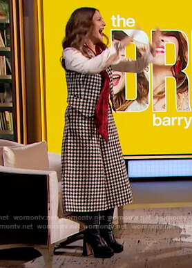 Drew's houndstooth vest and pants on The Drew Barrymore Show