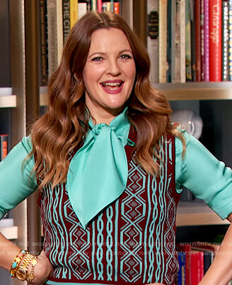 Drew's turquoise blouse and printed vest on The Drew Barrymore Show