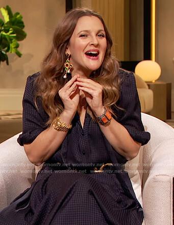 Drew's black silk tie neck dress on The Drew Barrymore Show