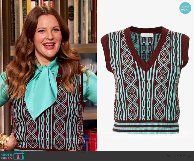 Cropped V-neck wool vest by Dries Van Noten worn by Drew Barrymore  on The Drew Barrymore Show