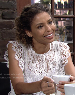 Elena's white scalloped lace top on The Young and the Restless