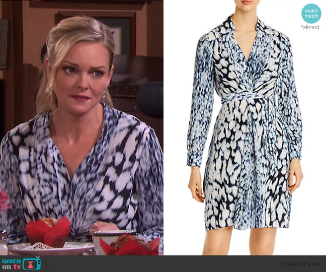 Saxon Printed Tie-Dye Dress by Elie Tahari worn by Belle Brady (Martha Madison) on Days of our Lives