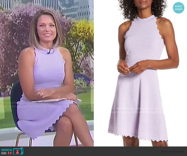 Scalloped Fit & Flare Sweater Dress by Eliza J worn by Dylan Dreyer  on Today