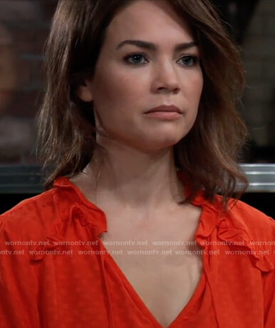 Elizabeth's red dot jacquard top on General Hospital