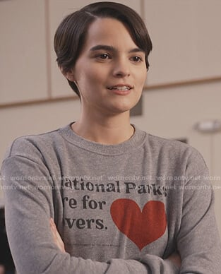Elodie's gray Nation Parks sweatshirt on Trinkets