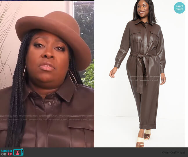 Faux Leather Jumpsuit With Button Front by Eloquii worn by Loni Love  on The Real
