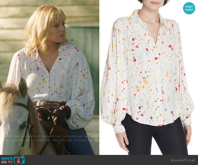 Equipment Marcilly Blouse worn by Margaret Monreaux (Kim Cattrall) on Filthy Rich