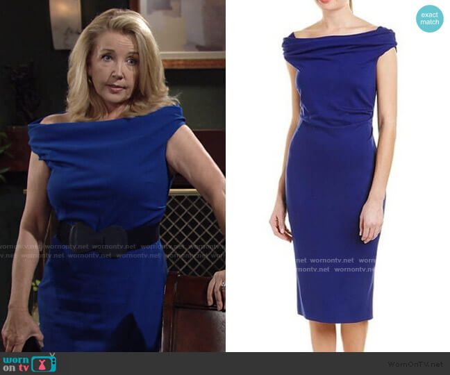 Sheath Dress in Blue by Escada worn by Nikki Reed Newman (Melody Thomas-Scott) on The Young & the Restless
