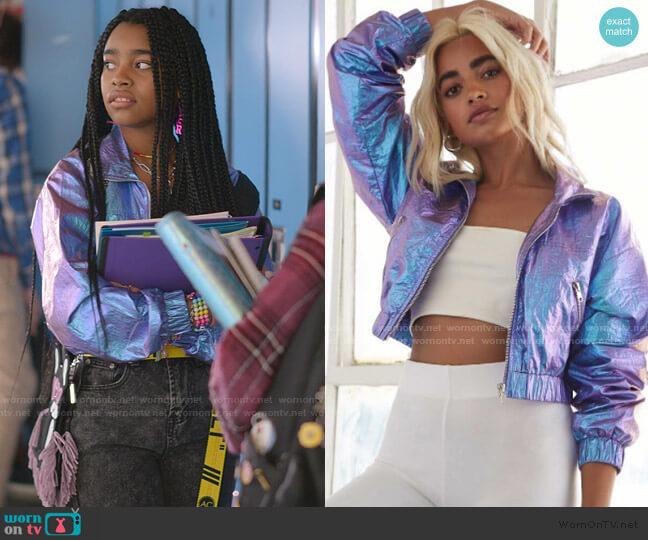 Iridescent Cropped Windbreaker by Forever 21 worn by Flynn (Jadah Marie) on Julie & the Phantoms