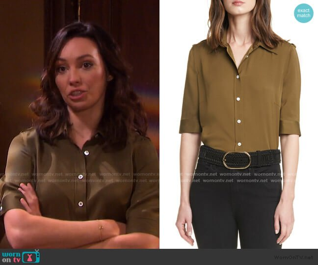 70s Epaulet Silk Shirt by Frame worn by Gwen Rizczech (Emily O'Brien) on Days of our Lives
