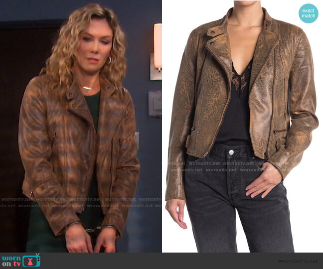 Fenix Snake Embossed Faux Leather Moto Jacket by Free People worn by Kristen DiMera (Stacy Haiduk) on Days of our Lives