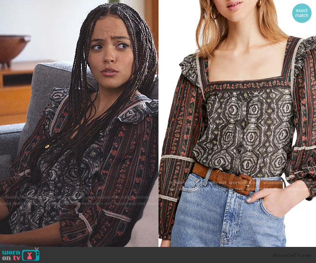 Mostly Meadow Blouse by Free People worn by Tabitha Foster (Quintessa Swindell) on Trinkets