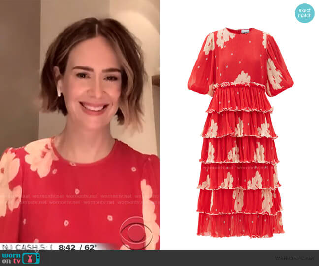 Tiered Floral-Print Pleated-Georgette Midi Dress by Ganni worn by Sarah Paulson on CBS This Morning